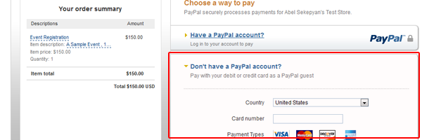 PayPal Default Screen