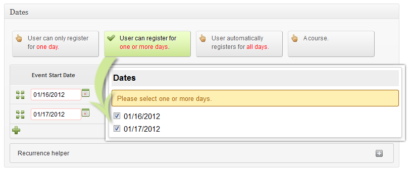 User can register for one or more days